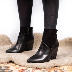 Vince Camuto Black Leather and Suede Ankle Boots